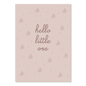 Postkarte Hello little one rosa