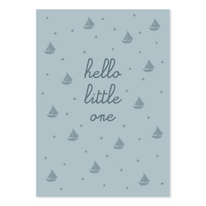 Postkarte Hello little one blau