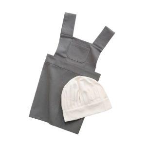 Kinderschürze und Kochmütze elephant grey